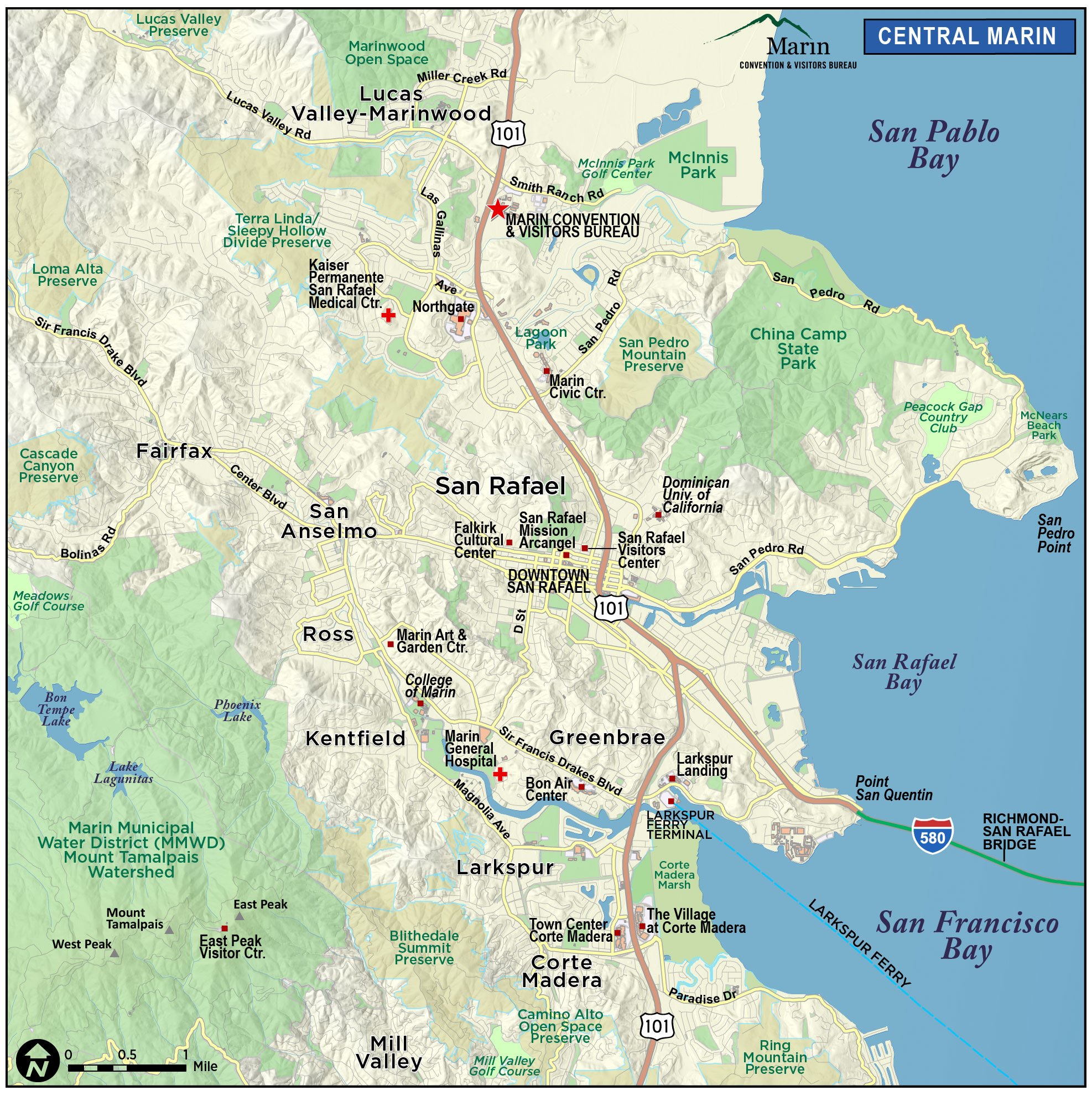 Map Of Marin  Directions Maps  Transportation Marin County - Us 101 south map