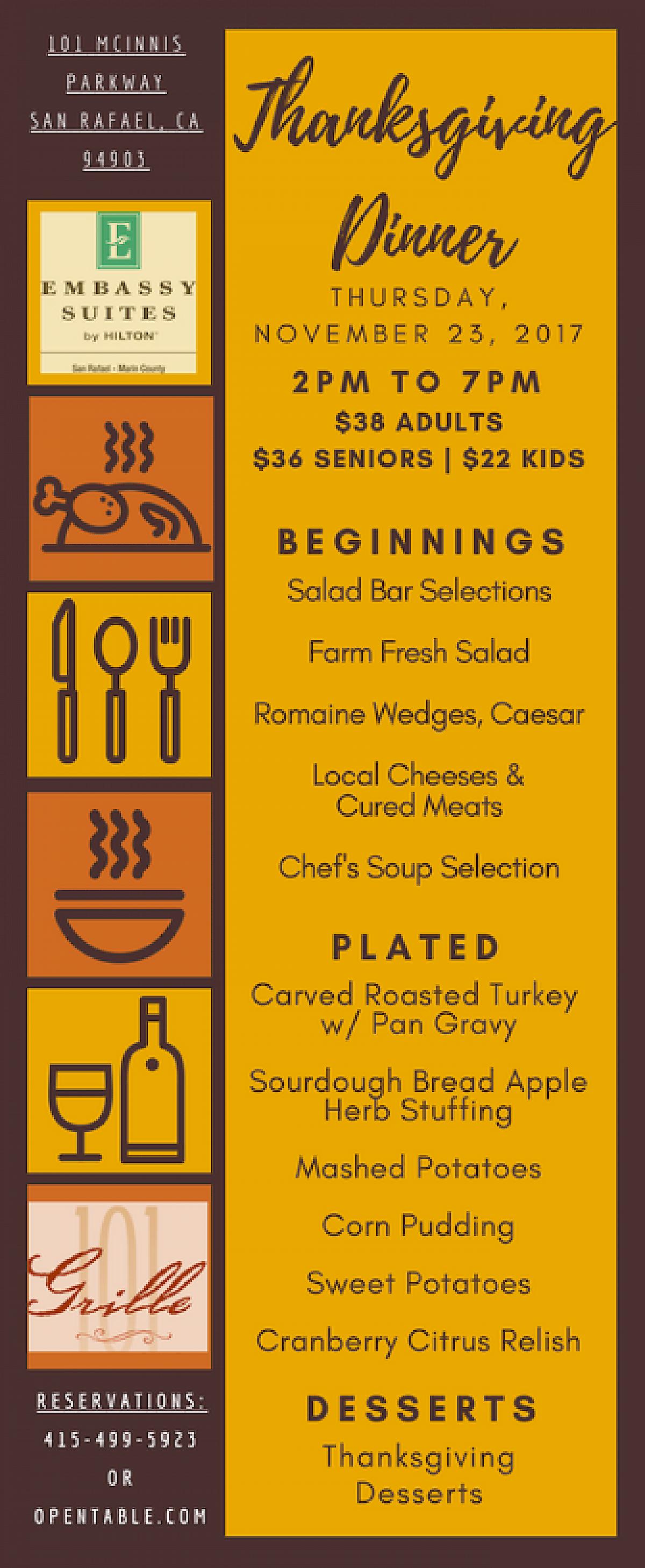 Thanksgiving Dinner at Grille 101 - November 2017 | Marin ...